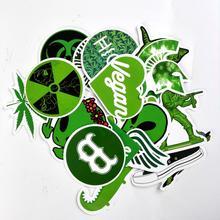 28 шт./лот, веганские каракули, Зеленый лист, аниме наклейки для ноутбука, багажа, ноутбука, скейтборда, сноуборда, автомобиля, ПВХ, водонепроницаемые наклейки
