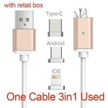 Usb тип c/ios/android 3in1 магнитного кабель типа с usb-c быстрая зарядка адаптер магнит кабель для iphone 5/ipad мобильного телефона кабель