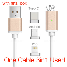USB Type C/IOS/Android 3IN1 Magnetic Cable Type-C USB-C Fast Charge Adapter Magnet Cable For iPhone 5/Ipad mobile phone cable
