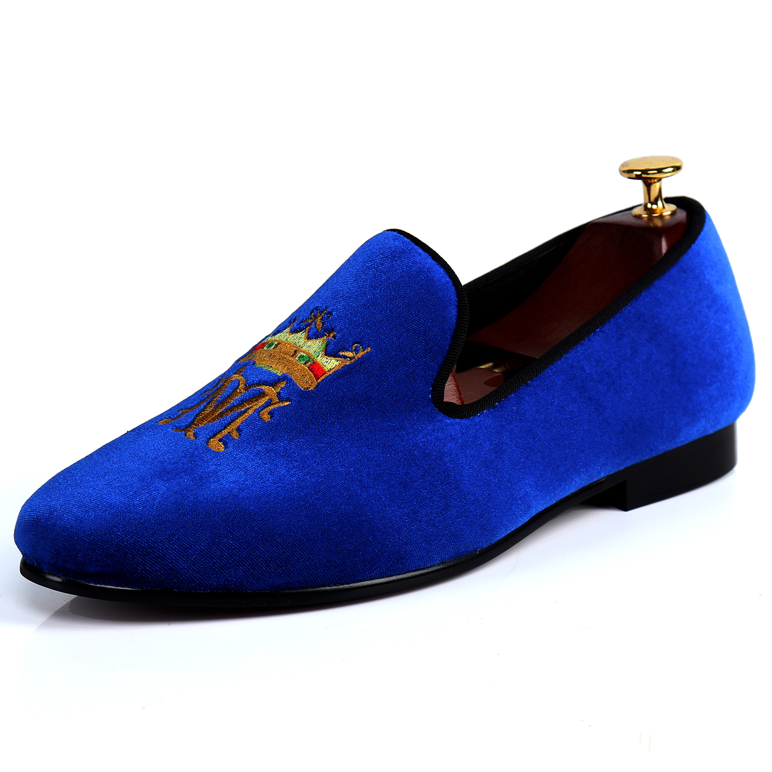 Brand Men Shoes Dress Embroidered Velvet Loafers Large Size Shoes For Wedding