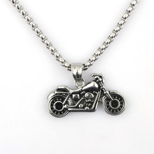 Personalized Motorcycle Pendant Chain Biker Punk Gothic Necklace For Men Vintage Stainless Steel Chain Handmade Jewelry