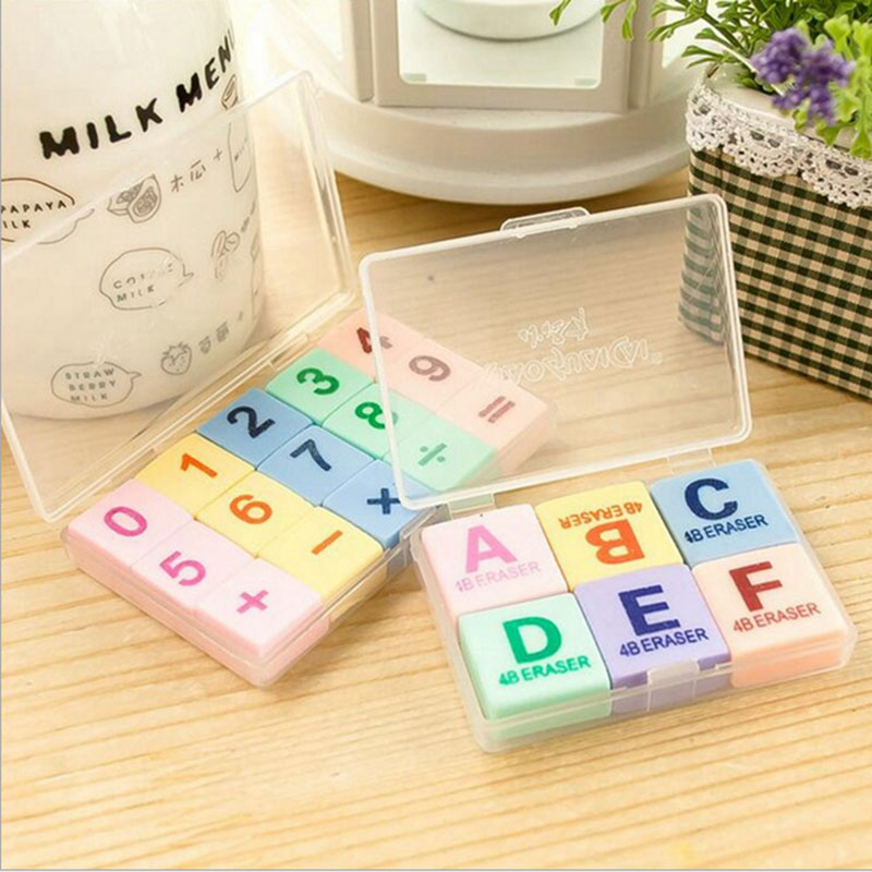 1pcs /cute Creative Digital + Letter Rubber Eraser Kawaii School Supplies Papelaria  Child Learning Stationery Materiale