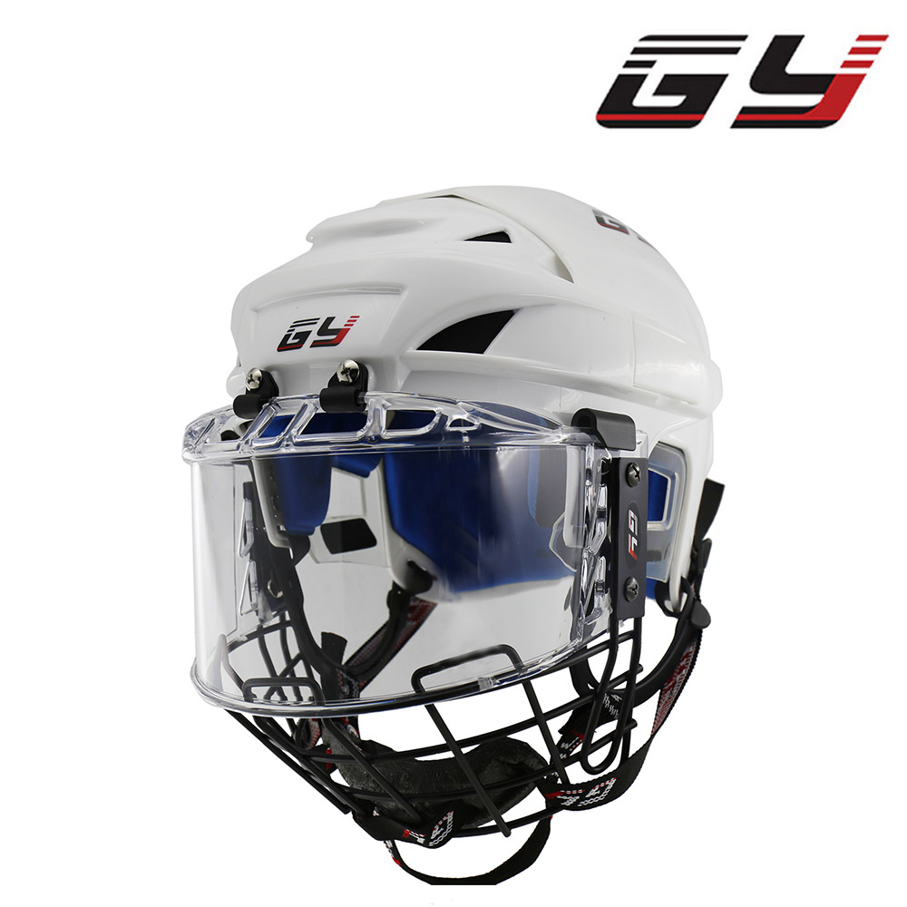 GY SPORT livraison gratuite casque de hockey sur glace hockey casque avec visière transparente en acier masque NOUVEAU produit approbation de la ce