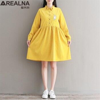 29c3ef71a Otoño Invierno Mori chica amarillo azul PANA mujeres vestido conejo  zanahoria bordado Kawaii lindo manga larga señoras vestidos casuales