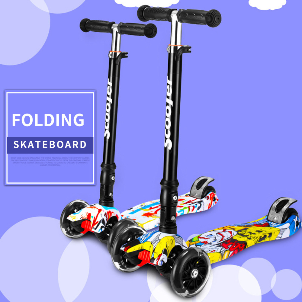 Kids Folding Mini Scooter Kick Children LED Lighting Flashing Colorful Balance Big PU Front Wheels Outdoor skate board Scooters