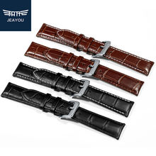 JEAYOU Men Genuine Leather Watchbands For Casio Seiko Mido With Pin Buckle 19 20 21 22