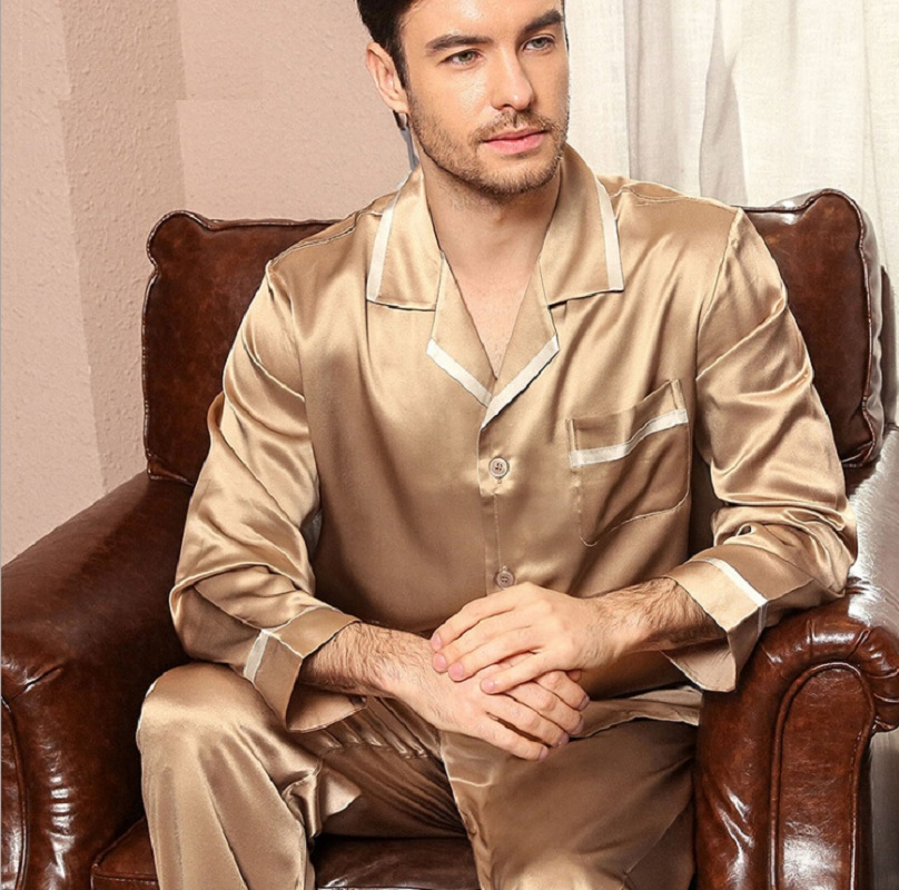 Man 100% Silk Stain Sleepwear Two Piece Set Long Sleeve 2019 Summer Spring Plus Size Mens Silk Pajamas Pants Set Homewear 2XL