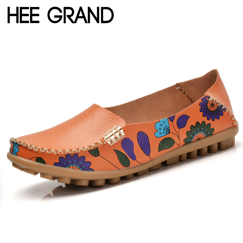 HEE GRAND Summer Loafers Split Leather Floral Moccasin Platform Shoes Woman Slip On Flats Comfortable Casual Women Shoes XWT1194 voltega лампа светодиодная диммируемая voltega шар прозрачная e27 4w 2800k vg10 g95cwarm4w 7014
