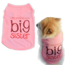 XS-L Pet Dog Vest Big Sister Letter T-Shirt Spring/Summer Dog Shirt Pet Clothes For Dogs Cats Puppy Dog Clothes Wholesale noJA11(China)