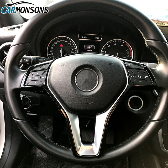 For Mercedes Benz A B C E CLA GLA GLC GLK CLS V Class W176 W246 W204 W205 W212 W213 W117 X156 W447 Steering Wheel Trim Stickers