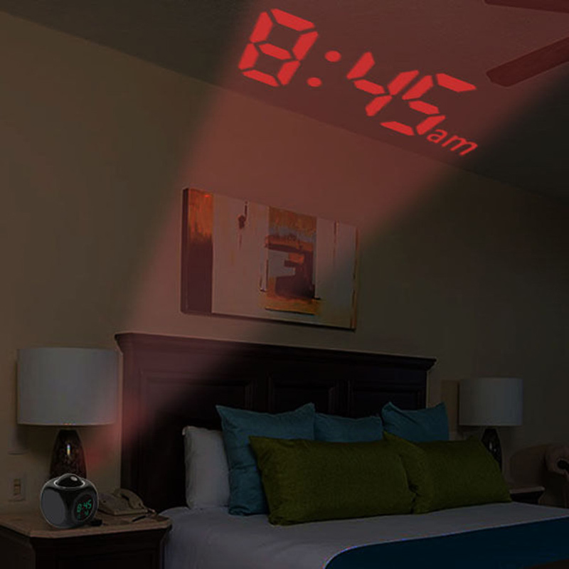 Digital LCD Display Stimme Reden Projektions-wecker-zeit Wetterstation LED Projektion mit Temperatur Aufwachen Projektor Uhr
