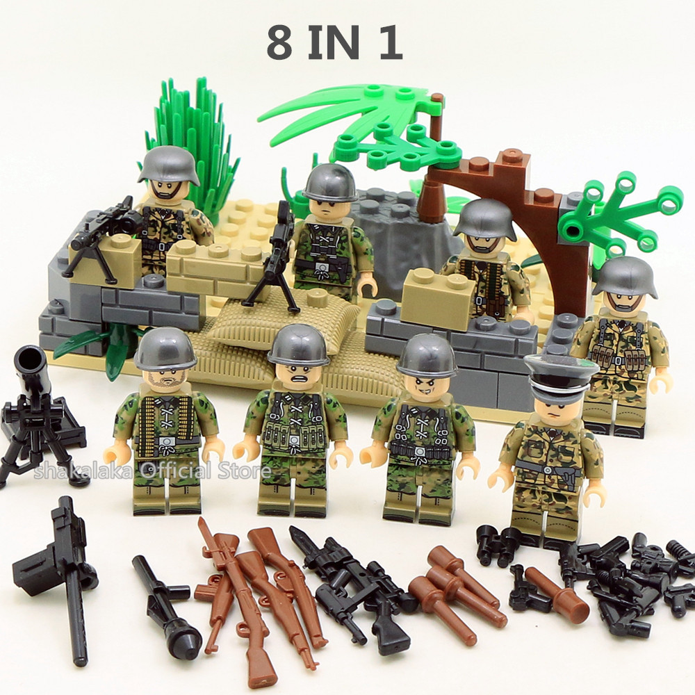 8pcs Soldier MILITARY Weapon SWAT World War Gun Army Navy Seals Team Marines Building Blocks Figures Bricks Toys Boys Gift Set