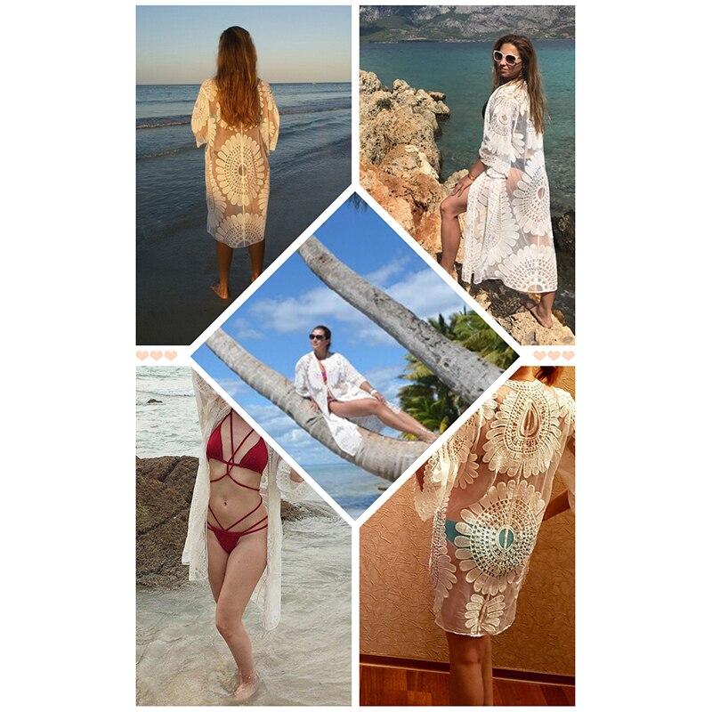 2018 Pareo Plajı örtmək Güllü naxış bikini örtmək Üzmə - İdman geyimləri və aksesuarları - Fotoqrafiya 6