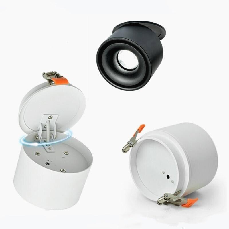 Livraison gratuite Surface montée blanc noir led COB downlight 15 W lampe à led dimmable spot lumière avec conducteur led blanc/blanc chaud