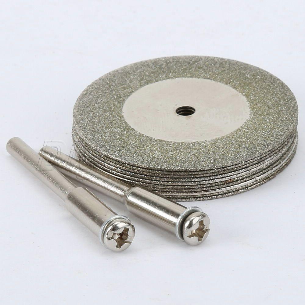 Nuevo 10pcs 35mm MINI Stone Jade Glass Diamond Disco de corte Fit Herramienta rotativa Dremel Taladros Hoja herramienta con dos mandriles Arbor