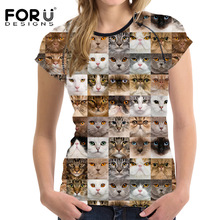 FORUDESIGNS Animal T-Shirts Women Short Sleeve Cats Dogs Casual Tshirt Female Tees Breathable Ladies Bodybuilding Tops 2017