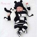 New Black & White Striped Inverno Macacão Para a Criança de Algodão de Manga Longa Baby Girl Macacões Roupas Bebê Recém-nascido Menino Bebes Roupas