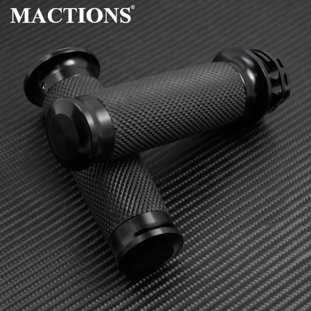 "MACTIONS 1""25mm Black Hand Grips Handlebar Grips For Harley Sportster 883 1200 XL XR Softail Heritage Breakout Touring Dyna VRSC"