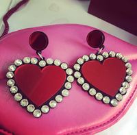 2015 New Arrivals Fine Imitation Bright Diamond Lovely Cute Lady Peach Heart Stud Earrings Love Femininity