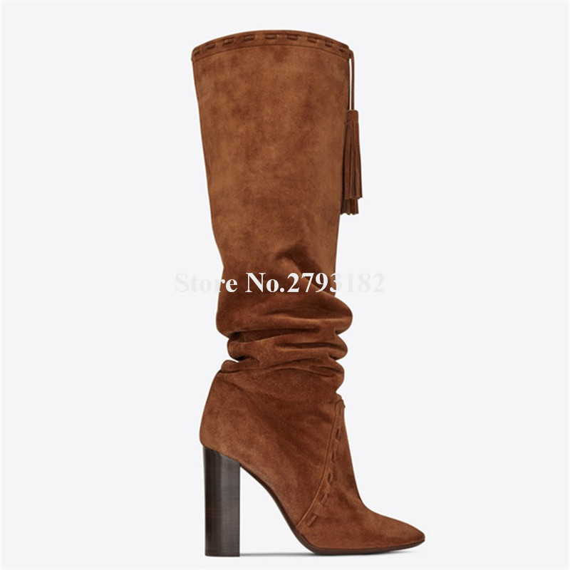 Women New Fashion Pointed Toe Black Brown Suede Leather Chunky Heel Knee High Boots Top Strap Long Thick High Heel Long Boots high quality suede boots women ankle strap chunky heel black brown fleeces buckles pu shoes winter high heel knee high punk shoe