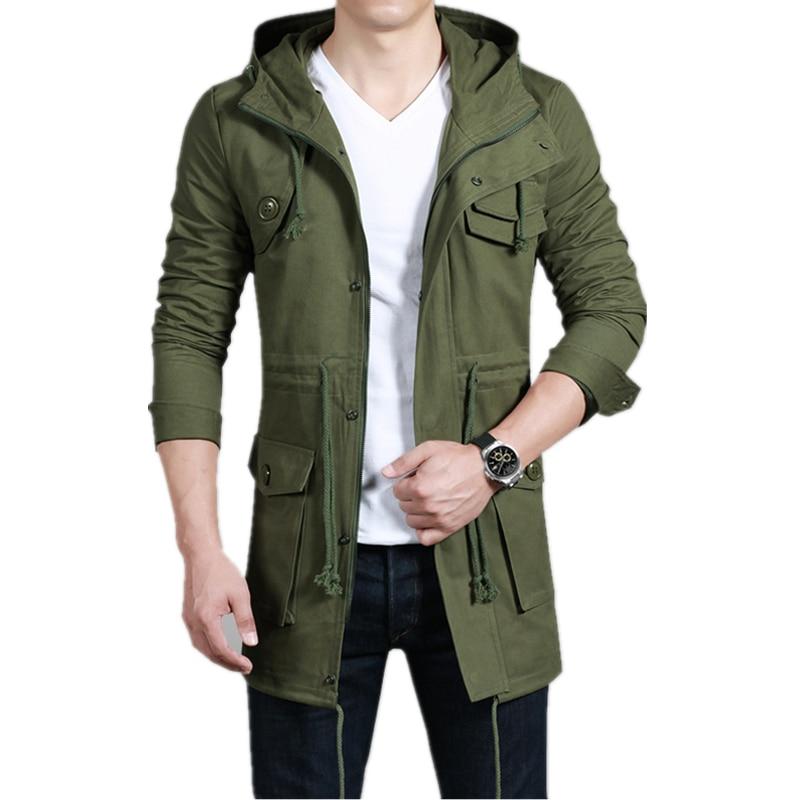 2019 nova arrivel primavera e no outono de alta qualidade lazer moda masculina longa com capuz trench coat