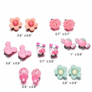 7 Pairs Kids Toddler Little Girls Clip On Earrings Value Set Birthday Party Gift 1