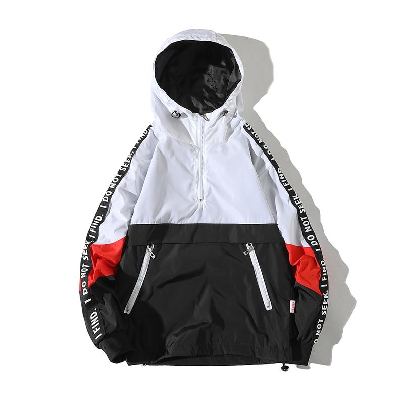 Legible 2019 Patchwork Black Pullover Jacket Fashion Tracksuit Casual Coat Men Windbreaker Hip Hop Streetwear Hooded Jackets Men-in Jackets from Men's Clothing