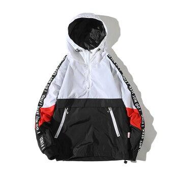 Legible 2019 Patchwork Black Pullover Jacket Fashion Tracksuit Casual Coat Men Windbreaker Hip Hop Streetwear Hooded Jackets Men Jackets