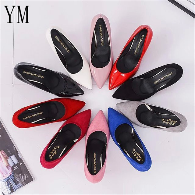 Hot Selling Women Shoes Pointed Toe Pumps Patent Leather Dress Red 8CM High Heels Boat Shoes Shadow Wedding Shoes Zapatos Mujer 1