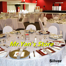 Silver party tablecloth 60x102in  Round Embroidered Sequin Table cover for Wedding Event Banquet Party Christmas Decoration