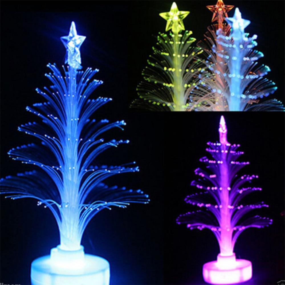 Colorful Mini LED Christmas Tree Cute Fiber Optic Acrylic Santa Claus Snowman Xmas Tree Nightlight For Home Party Decor Gifts