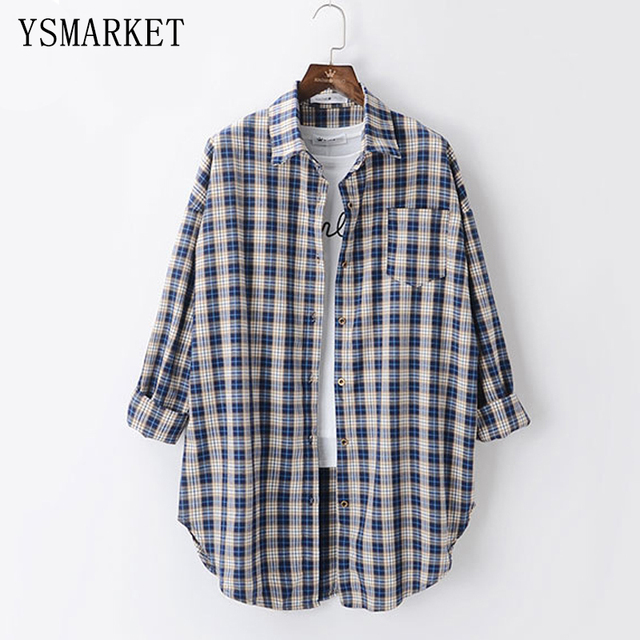 fb99fcce US $23.4  Korean Style Stylish Retro Plaid Shirts Spring Women Casual Chest  Pocket Blouse Long Sleeve Oversized Loose Female Tops S2344-in Blouses & ...