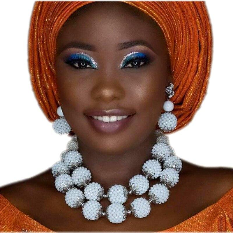 4 ujoaillerie dernière 2018 perles de mariée africaines ensemble de bijoux blanc à la main boules collier ensemble pour fête nigériane livraison gratuite dubaï