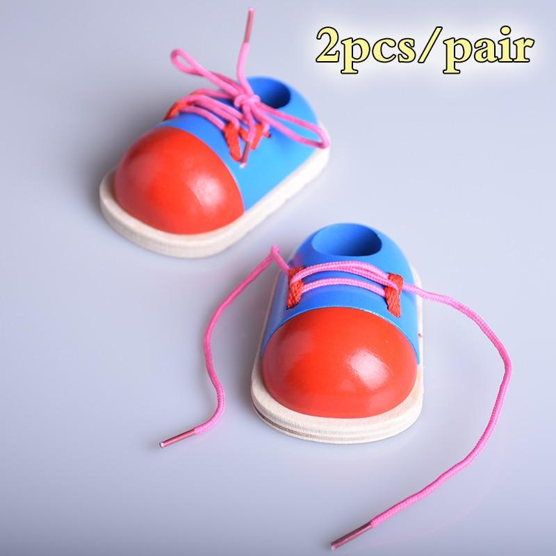 1 paar Holz Schnürsenkel Spielzeug Kleinkind Schnürung Schuhe Frühen ...