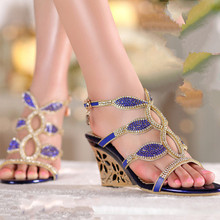 Summer fashion women's shoes diamond metal hollow out female high-heeled wedge sandals of Rome
