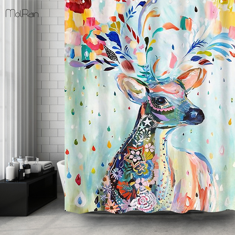 New Colorful Animal Pattern Shower Curtain with Hook Included Bathroom Curtain