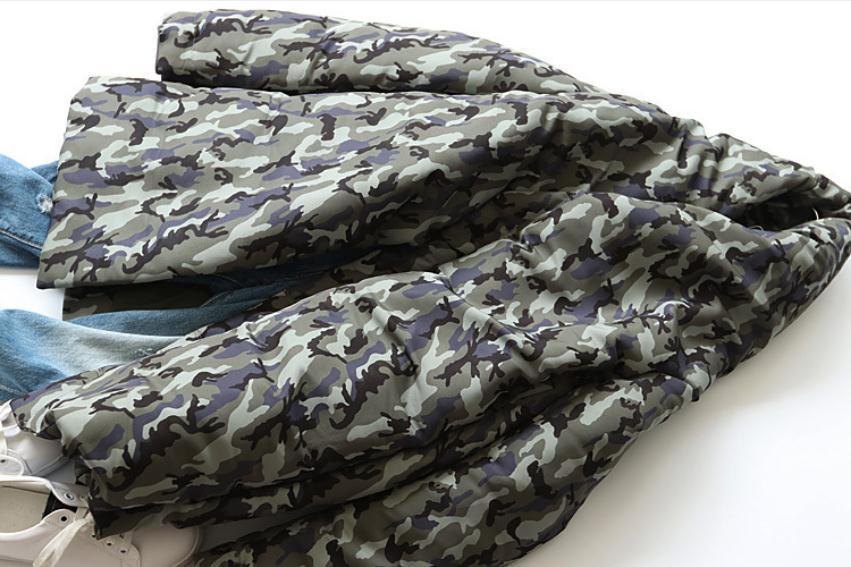 Vers Wq297 Femelle Long Manteau De Duvet Hiver Éclair Haut Imprimé Couture Chaud Le Bas Marque Mode Parkas Fermeture Qualité Col Army Green Camouflage Canard MVUzpqSG