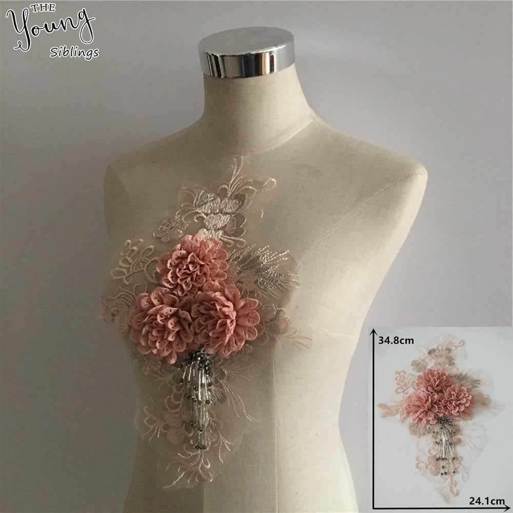 Hot sale Tulle Fabric Applique Lace Neckline DIY Sewing Embroidery 3D Flower Lace Collar Clothing Accessory Scrapbooking YL1452