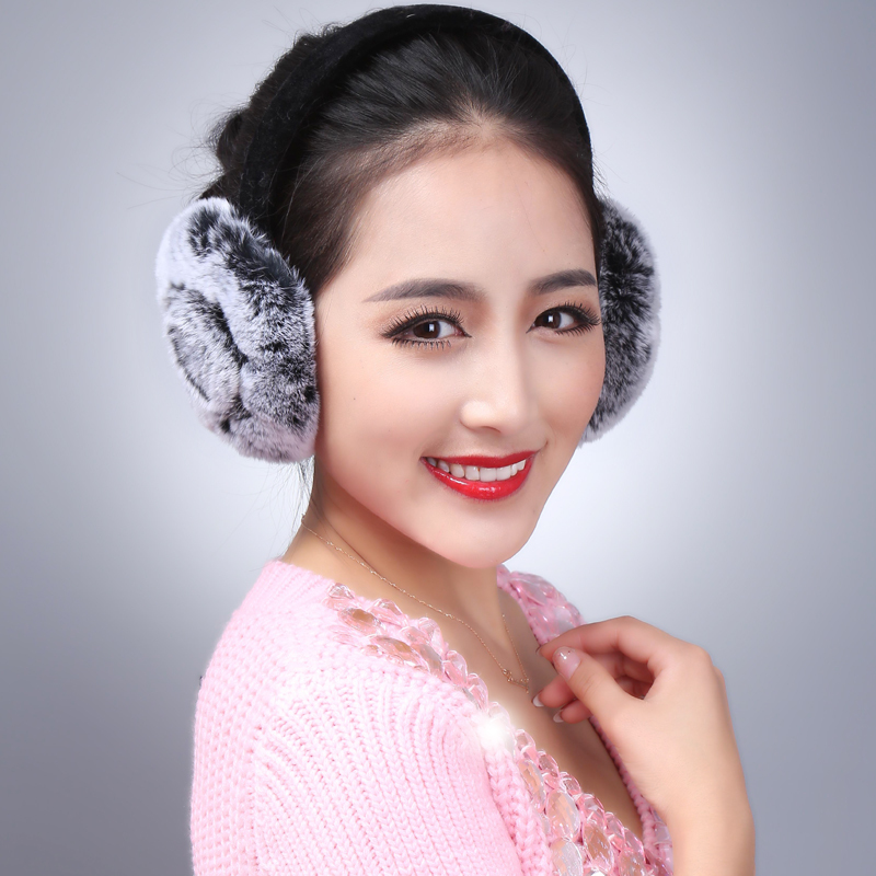 LIYAFUR New Women's Real Genuine Rex Rabbit Fur Winter Warm Earmuffs