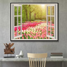 Laeacco Canvas Modern Home Decor Tulip Flower Painting Calligraphy Window Posters Prints Garden Wall Art Picture Living Room