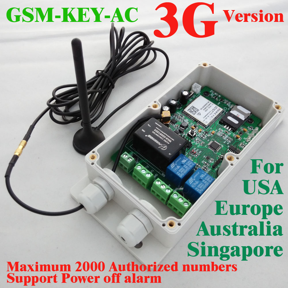Able 3g Version Gsm-key-ac2000 Good Designed 3g And Gsm Gate Opener Two Relay Output Two Alarm Input For Australia,usa,singapore Access Control