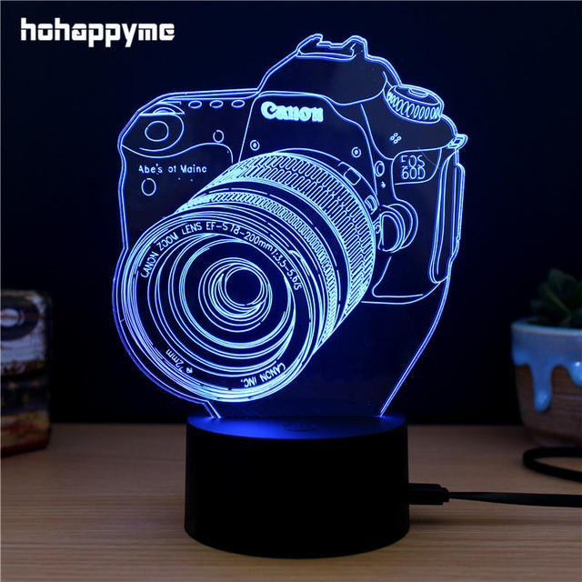 Camera 3d Led Light Sign Acrylic Led Signs Home Decor Gift