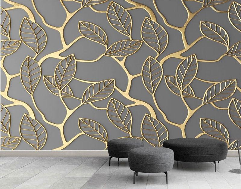 Waterproof Acanthus Leaf Pattern Embossed Wallpaper Mural Wall Background Cover