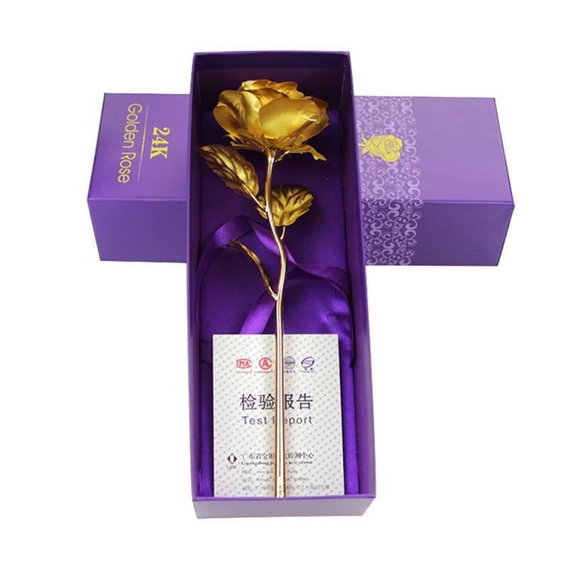 24K Gold Plated Rose Flower Christmas Gift Birthday Romantic Golden Flower w//Box