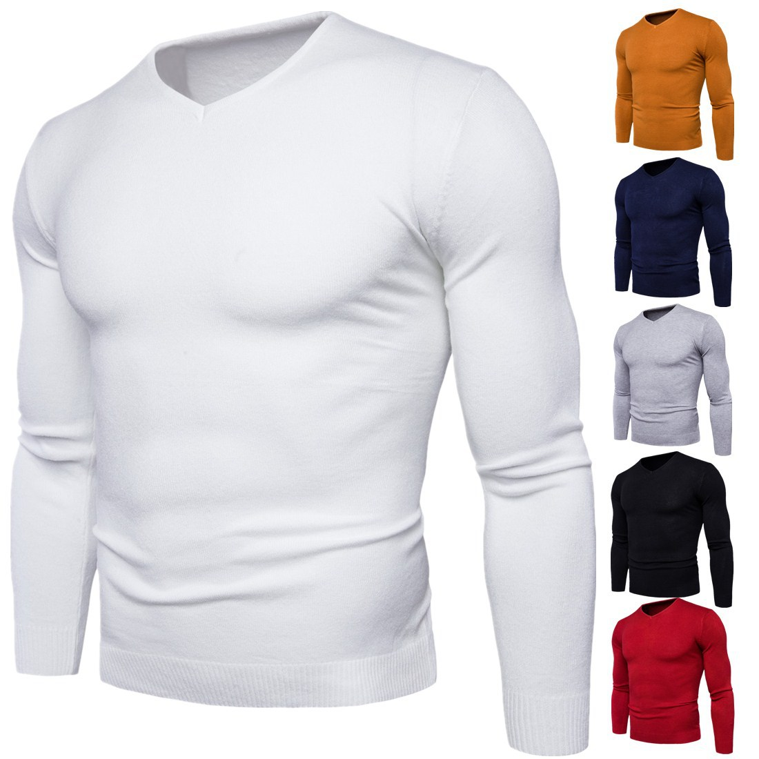 The New 2017 Men V-neck Sweater Pure Color Long Sleeve Men Sweater Coat
