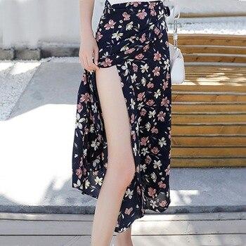 Boho Women Flower Long Skirt Summer Beach Sunny Skirts Floral Chiffon Tutu Skirt 5