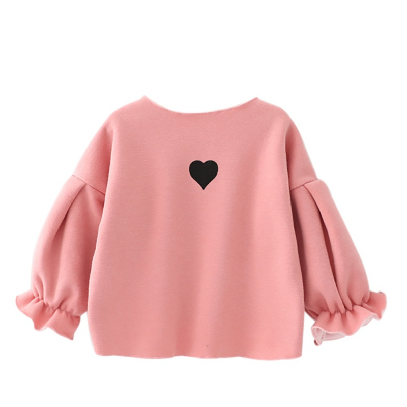 Fashion Children Velvet Fleece Baby Girls T shirt Cotton Clothes Long Sleeve O-neck Heart Thick Toddler Girls Shirt breast pocket v neck long sleeve t shirt