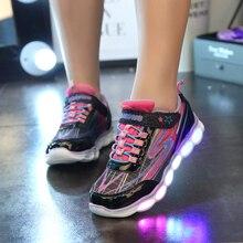 Glowing Sneakers font b Kids b font font b Luminous b font Flats Casual font b