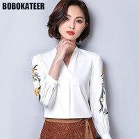 BOBOKATEER Woman White Chiffon Office Shirt Women Blouse V Neck Ladies Embroidery Blusas Womens Tops And