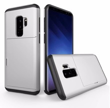 Hybrid Armor Rugged & Card Storage Cover for Samsung Galaxy S8 S8Plus S9 S9Plus Note 8